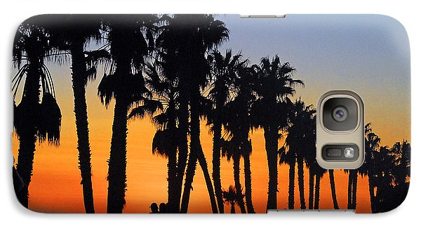 Galaxy Case featuring the photograph Ventura Boardwalk Silhouettes by Lynn Bauer