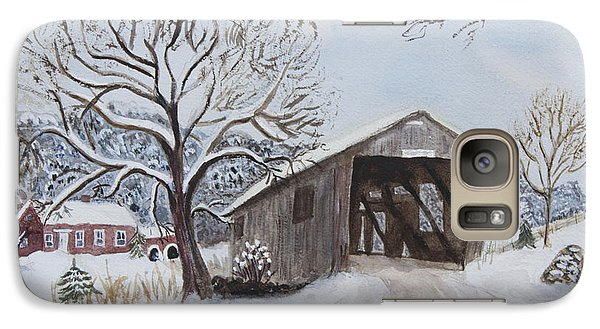Galaxy Case featuring the painting Vermont Covered Bridge In Winter by Donna Walsh