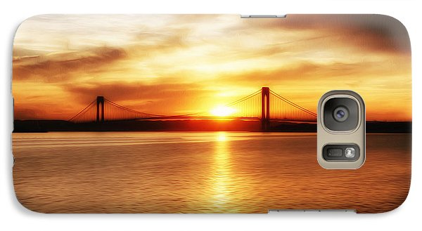 Galaxy Case featuring the painting Verrazano Bridge At Sunset by Boris Mordukhayev