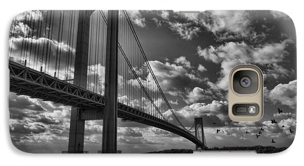 Galaxy Case featuring the photograph Verrazano Narrows Bridge In Bw by Terry Cork