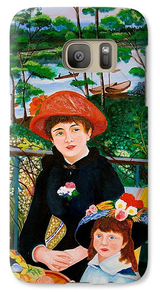 Galaxy Case featuring the painting Version Of Renoir's Two Sisters On The Terrace by Cyril Maza