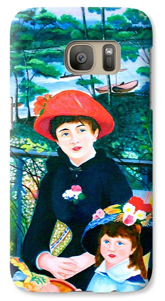 Galaxy Case featuring the painting Version Of Renoir's Two Sisters On The Terrace by Lorna Maza