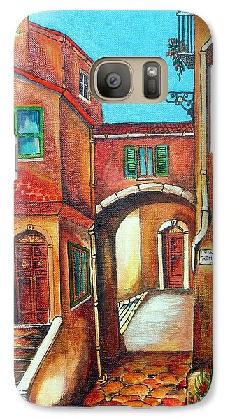 Galaxy Case featuring the painting Via Roma In Tuscany Village by Roberto Gagliardi