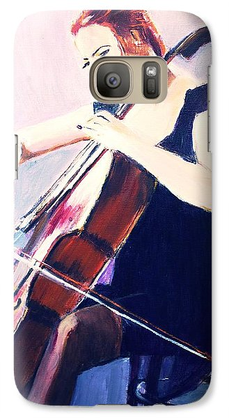 Galaxy Case featuring the painting Vibrato In Blue by Judy Kay