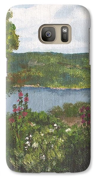 Galaxy Case featuring the painting View From The Garden by Cynthia Morgan