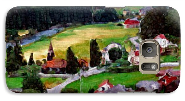 Galaxy Case featuring the painting Village In The Mountains by Bruce Nutting
