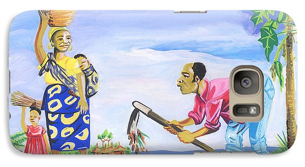 Galaxy Case featuring the painting Village Life In Cameroon 01 by Emmanuel Baliyanga