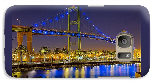 Galaxy Case featuring the photograph Vincent Thomas Bridge - Nightside by Jim Carrell