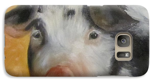 Galaxy Case featuring the painting Vindicator Pig Painting by Cheri Wollenberg