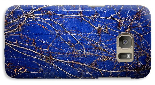 Galaxy Case featuring the photograph Vine On Blue Wall by Dave Garner