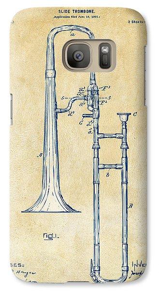 Trombone Galaxy S7 Case - Vintage 1902 Slide Trombone Patent Artwork by Nikki Marie Smith