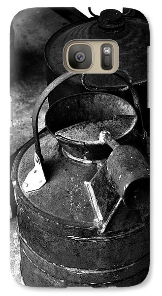 Galaxy Case featuring the photograph Vintage B/w Galvanized Container by Lesa Fine