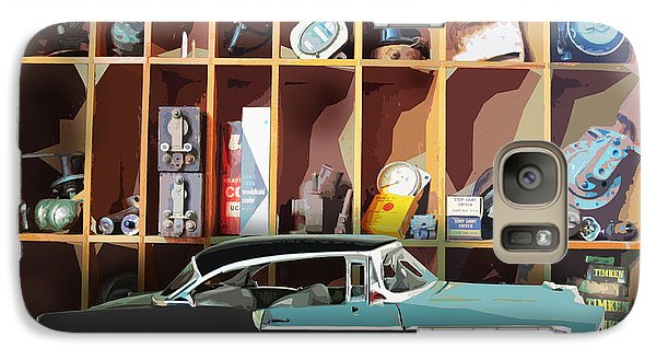 Galaxy Case featuring the digital art Vintage Chevy Belair With Retro Auto Parts by John Fish