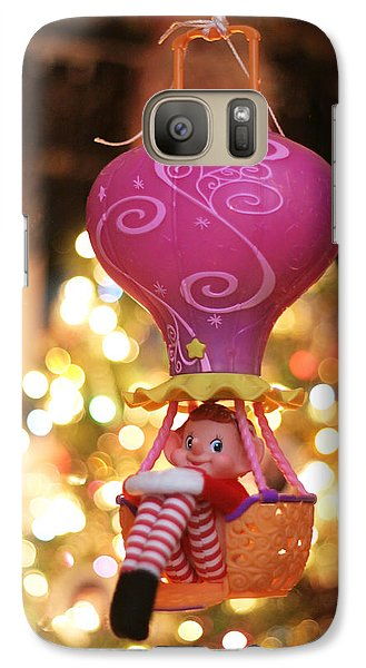 Galaxy Case featuring the photograph Vintage Christmas Elf Hot Air Balloon Ride by Barbara West