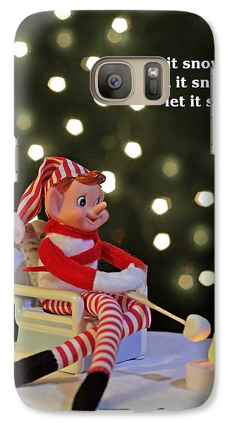 Galaxy Case featuring the photograph Vintage Christmas Elf Toasting A Marshmallow by Barbara West