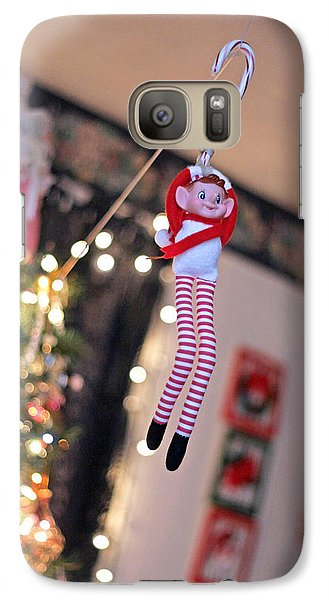 Galaxy Case featuring the photograph Vintage Christmas Elf Zipline by Barbara West