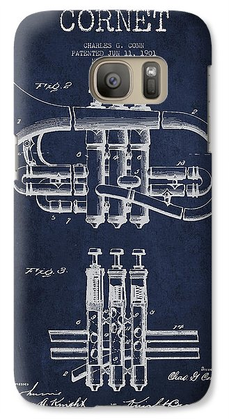 Cornet Patent Drawing From 1901 - Blue Galaxy S7 Case by Aged Pixel