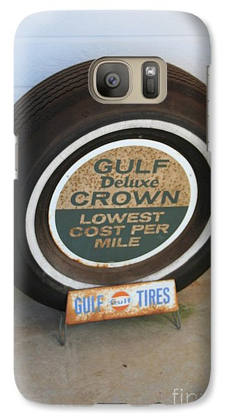 Galaxy Case featuring the photograph Vintage Gulf Tire With Ad Plate by Lesa Fine
