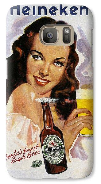 Galaxy Case featuring the digital art Vintage Heineken Beer Ad by Allen Beilschmidt