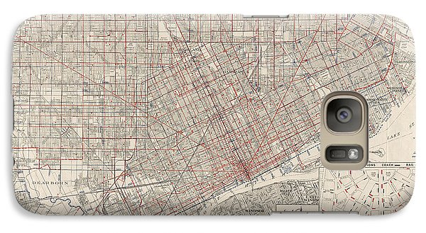 Galaxy Case featuring the drawing Vintage Map Of Detroit Michigan From 1947 by Blue Monocle
