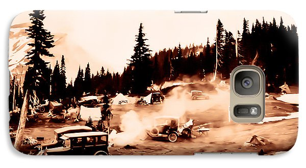 Galaxy Case featuring the photograph Vintage Mount Rainier Cars And Camp Grounds Early 1900 Era... by Eddie Eastwood