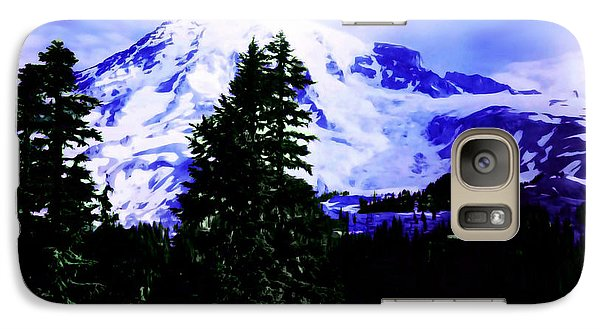 Galaxy Case featuring the photograph Vintage Mount Rainier From Pinnacle Peak Early 1900 Era... by Eddie Eastwood