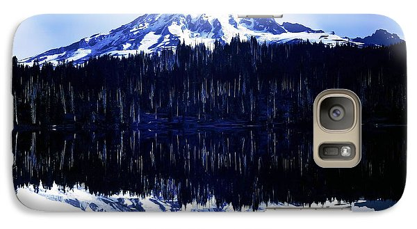 Galaxy Case featuring the photograph Vintage Mount Rainier From Reflection Lake Early 1900 Era... by Eddie Eastwood