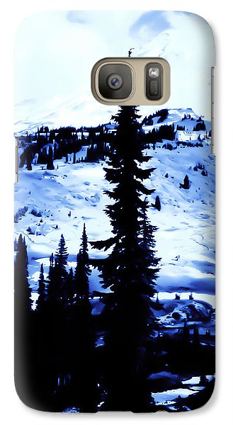 Galaxy Case featuring the photograph Vintage Mount Rainier With Camp Grounds In The Distance Early 1900 Era... by Eddie Eastwood