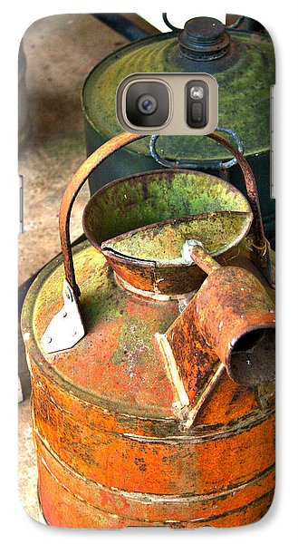 Galaxy Case featuring the photograph Vintage Orange And Green Galvanized Containers by Lesa Fine