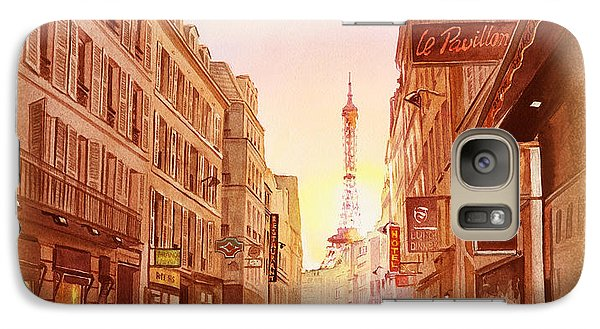 Galaxy Case featuring the painting Vintage Paris Street Eiffel Tower View by Irina Sztukowski