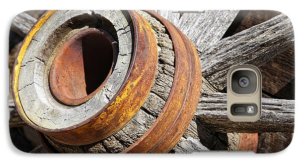 Galaxy Case featuring the photograph Vintage Rustic Wagon Wheel 1 by Lincoln Rogers