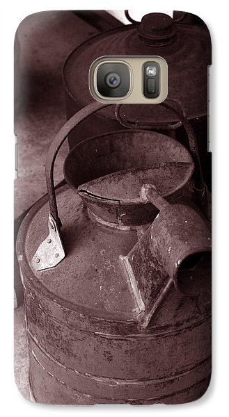 Galaxy Case featuring the photograph Vintage Sepia Galvanized Container by Lesa Fine
