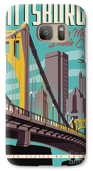 Vintage Style Pittsburgh Travel Poster Galaxy S7 Case