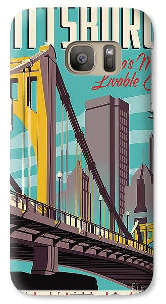 City Scenes Galaxy S7 Case - Pittsburgh Poster - Vintage Travel Bridges by Jim Zahniser