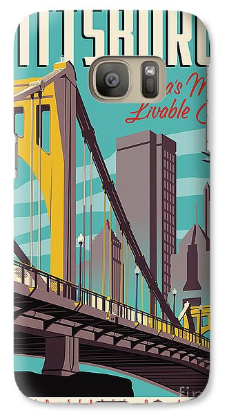 City Scenes Galaxy S7 Case - Vintage Style Pittsburgh Travel Poster by Jim Zahniser