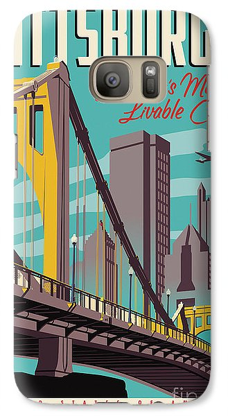 Vintage Style Pittsburgh Travel Poster Galaxy S7 Case by Jim Zahniser