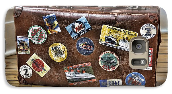 Galaxy Case featuring the photograph Vintage Suitcase With Labels by Craig B