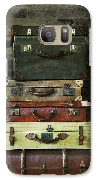 Galaxy Case featuring the photograph Vintage Suitcases by Ethiriel  Photography