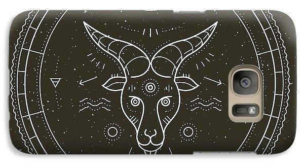 Magician Galaxy S7 Case - Vintage Thin Line Capricorn Zodiac Sign by Painterr