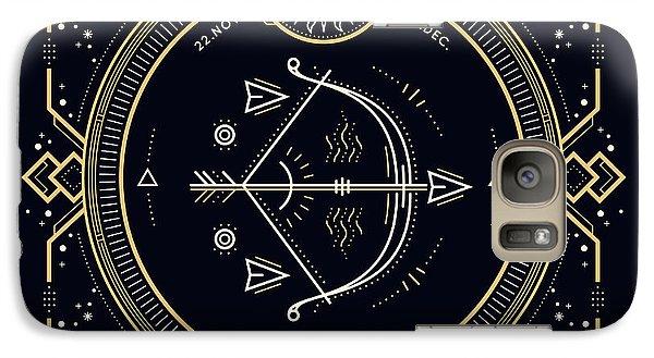 Magician Galaxy S7 Case - Vintage Thin Line Sagittarius Zodiac by Painterr