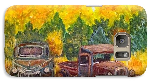 Galaxy Case featuring the painting Vintage Trucks by Belinda Lawson