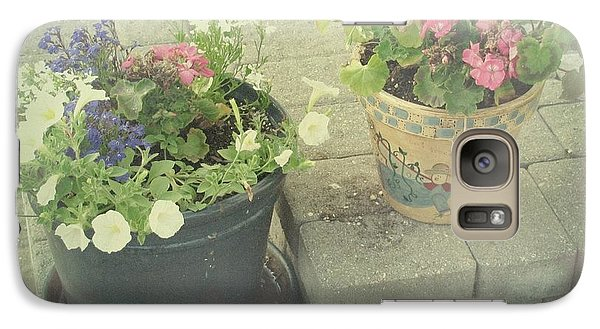 Galaxy Case featuring the photograph Vintage Worn Flower Pots by Margaret Newcomb