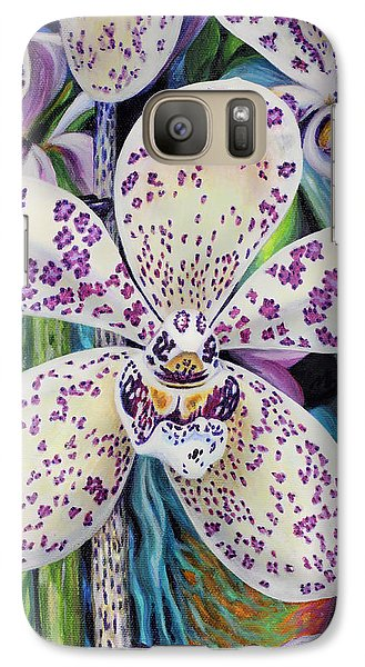 Galaxy Case featuring the painting Violet Dotted Orchid by Jane Girardot