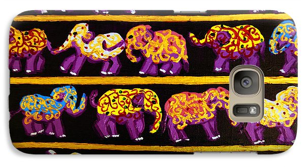 Galaxy Case featuring the painting Violet Elephants by Cassandra Buckley