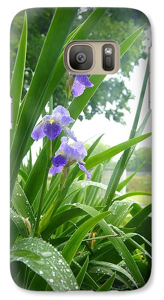 Galaxy Case featuring the photograph Iris With Dew by Laurie Perry