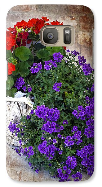 Galaxy Case featuring the photograph Violets And Geraniums On The Bricks by William Havle