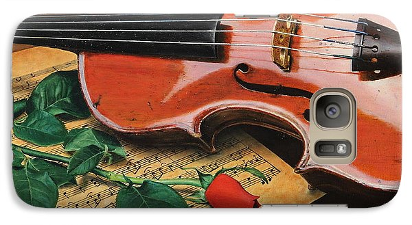 Galaxy Case featuring the painting Violin And Rose by Glenn Beasley