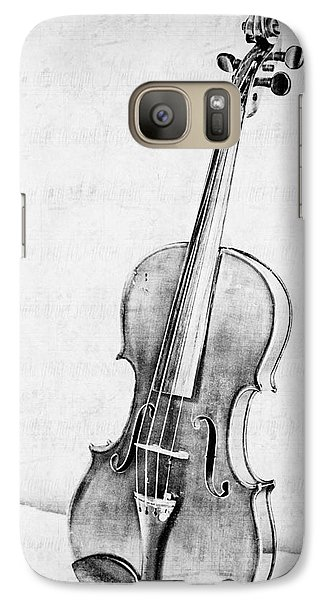 Violin Galaxy S7 Case - Violin In Black And White by Emily Kay