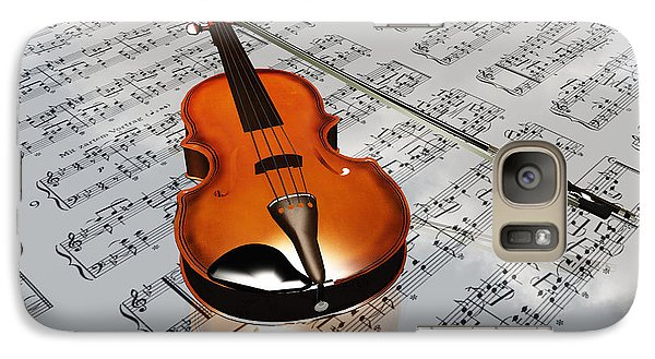 Galaxy Case featuring the digital art Violin On Sheet Music Backdrop With Clouds Reflecting by Bruce Rolff