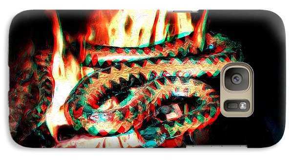 Galaxy Case featuring the digital art Viper In Flames - 3d Anaglyph by Daniel Janda